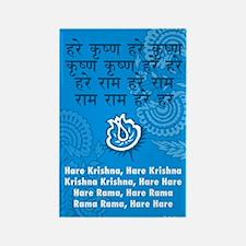 Blue Hare Krishna Mantra Rectangle Magnet