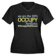 Occupy Fontana Women's Plus Size V-Neck Dark T-Shi