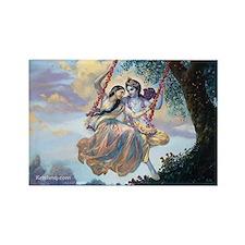 Radha & Krishna on Swing Rectangle Magnet