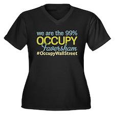Occupy Faversham Women's Plus Size V-Neck Dark T-S