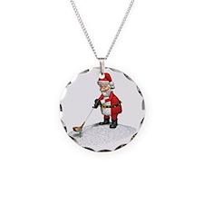 Golfing Santa Claus Necklace Circle Charm