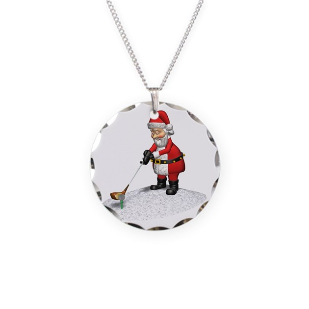 Golfing santa claus necklace circle charm by lesrubadesigns