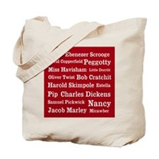 Dickens Characters (cranberry) Tote Bag