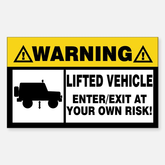Lifted Warning Simple Sticker (Rectangle)