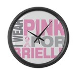 I wear pink for Brielle Large Wall Clock