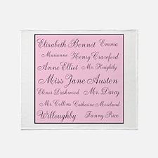 Jane Austen (pink) Throw Blanket
