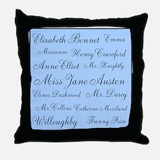 Jane Austen (Blue) Throw Pillow