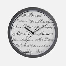 Jane Austen (silver) Wall Clock