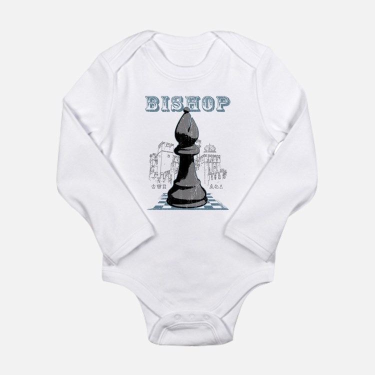 Black Bishop Chess Mate Long Sleeve Infant Bodysui