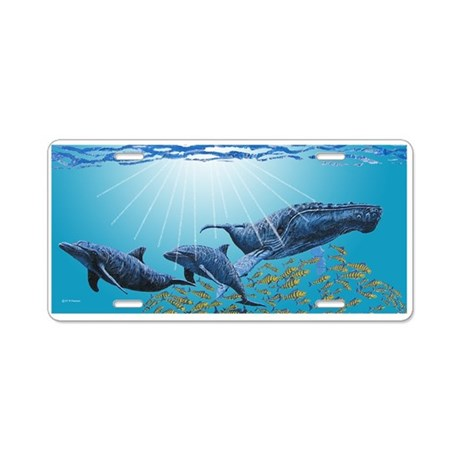 Humpback & Dolphins Aluminum License Plate