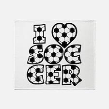 I Love Soccer Throw Blanket