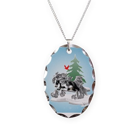 Gypsy Vanner Winter Necklace Oval Charm