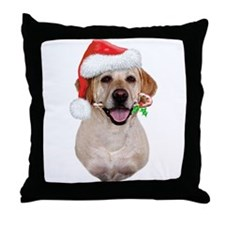 Yellow Lab Santa Throw Pillow