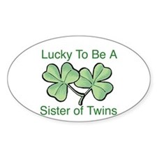 Lucky to be a Twin Sister Oval Decal