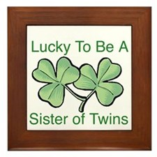 Lucky to be a Twin Sister Framed Tile