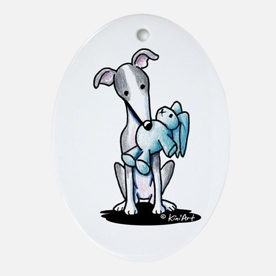Rabbit Lover Greyhound Ornament (Oval)