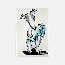 Rabbit Lover Greyhound Rectangle Magnet (10 pack)