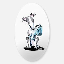 Rabbit Lover Greyhound Sticker (Oval 10 pk)
