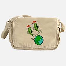 Christmas Peas on Earth Messenger Bag