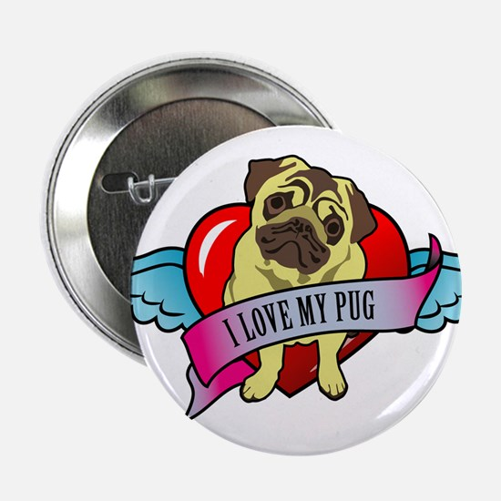 """Pugs Banner Heart & Wings - I 2.25"""" Button"""