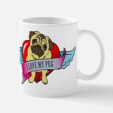 Pugs Banner Heart & Wings - I Mug