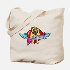 Pugs Banner Heart & Wings - I Tote Bag