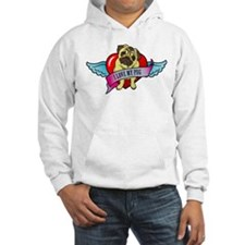 Pugs Banner Heart & Wings - I Hoodie Sweatshirt