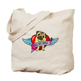 Pugs Banner Heart & Wings - P Tote Bag