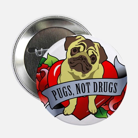 "Pugs Banner Heart & Roses - P 2.25"" Button"