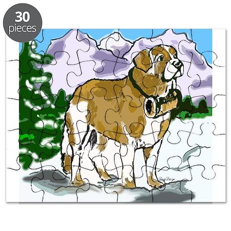 saint bernard with landscape Puzzle