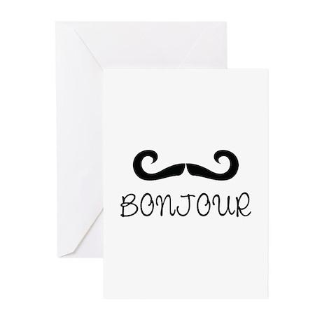 Bonjour Moustache Greeting Cards (Pk of 10)