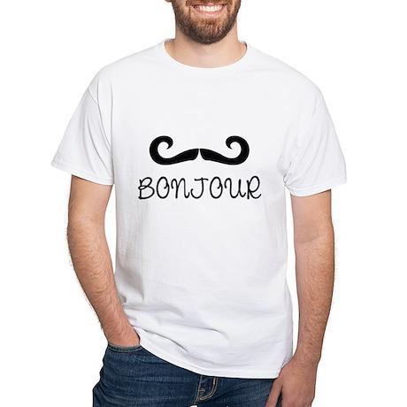 Bonjour Moustache White T-Shirt