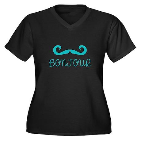 Bonjour Moustache Women's Plus Size V-Neck Dark T-
