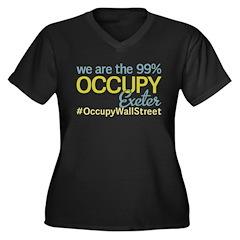 Occupy Exeter Women's Plus Size V-Neck Dark T-Shir