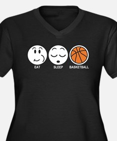 Eat Sleep Basketball Women's Plus Size V-Neck Dark