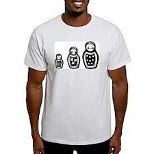 Russian Nesting Dolls on an Ash Grey T-shirt