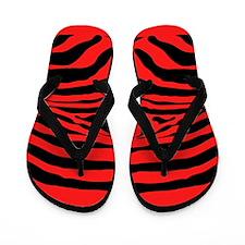Sassy Red Zebra Stripe Flip Flops
