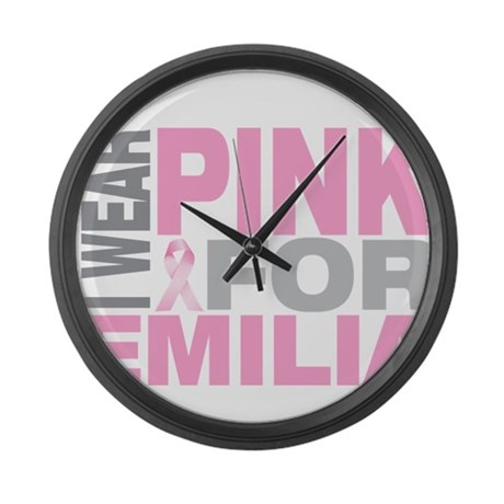 I wear pink for Emilia Large Wall Clock