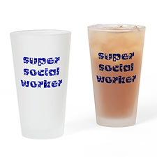 super social worker (Navy) Drinking Glass