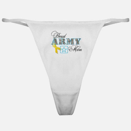 Proud Army Mom w/Ribbon Classic Thong