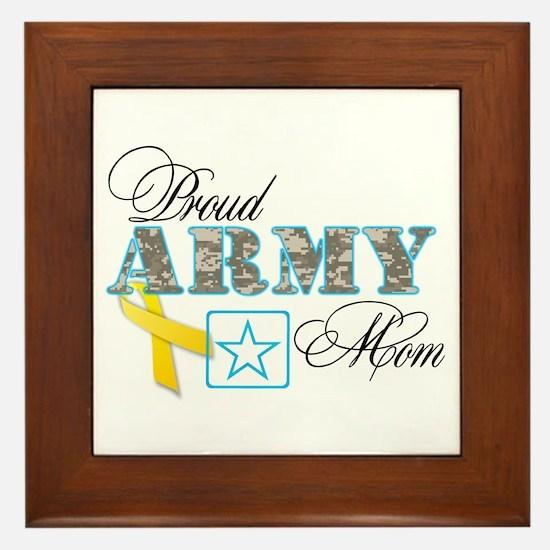 Proud Army Mom w/Ribbon Framed Tile