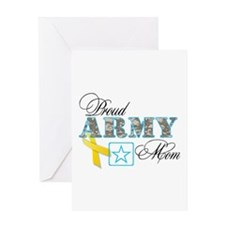 Proud Army Mom w/Ribbon Greeting Card