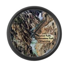 Lower Falls,Yellowstone Park 2 Large Wall Clock