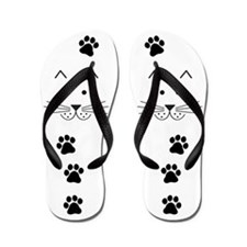 Cartoon Cat Face Flip Flops