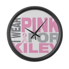 I wear pink for Kiley Large Wall Clock