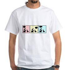 "White T featuring ""Idiot!"" comic strip"