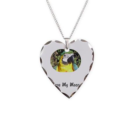 Macaw- I Love My Macaw Necklace Heart Charm