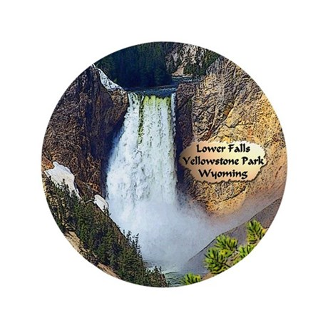 "Lower Falls, Yellowstone Park 3 3.5"" Button"