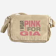 I wear pink for Gia Messenger Bag