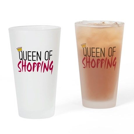 'Queen of Shopping' Drinking Glass